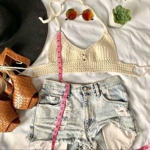 Cream crochet halter top